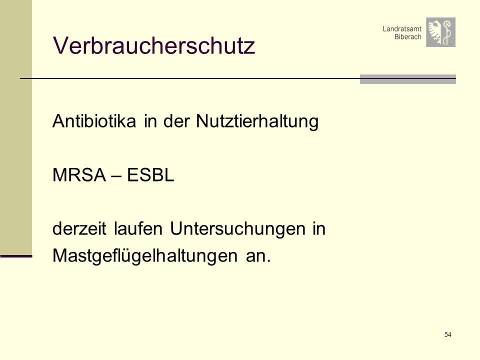 Verbraucherschutz Antibiotika in der Nutztierhaltung MRSA – ESBL