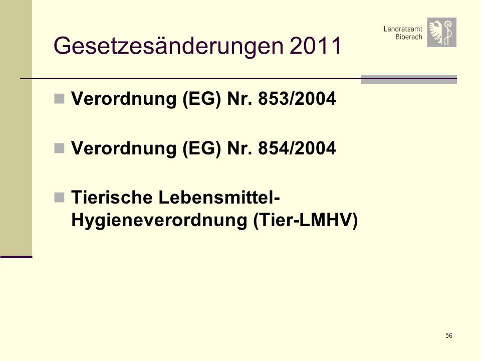 Gesetzesänderungen 2011 Verordnung (EG) Nr. 853/2004