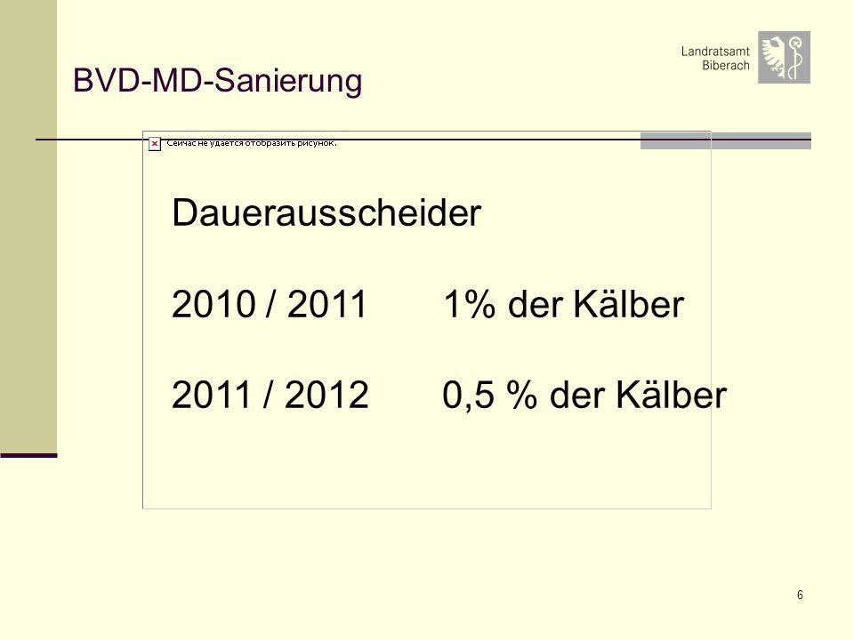 Dauerausscheider 2010 / 2011 1% der Kälber