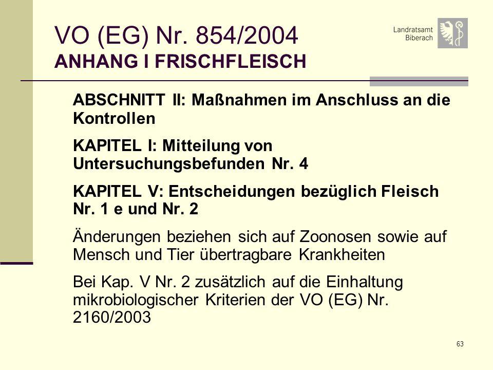 VO (EG) Nr. 854/2004 ANHANG I FRISCHFLEISCH