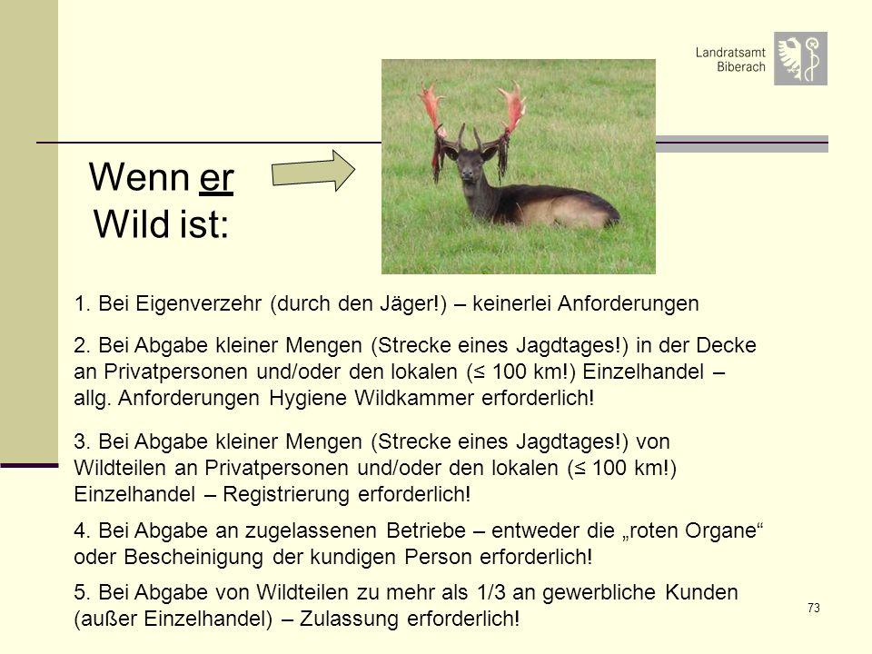 Wenn er Wild ist: 1. Bei Eigenverzehr (durch den Jäger!) – keinerlei Anforderungen.