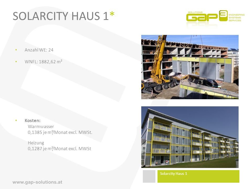 SolarCity Haus 1* Anzahl WE: 24 WNFL: 1882,62 m² Kosten: Warmwasser