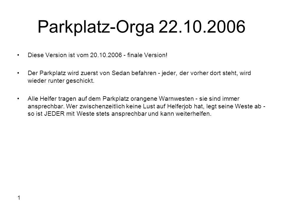 Parkplatz-Orga 22.10.2006 Diese Version ist vom 20.10.2006 - finale Version!