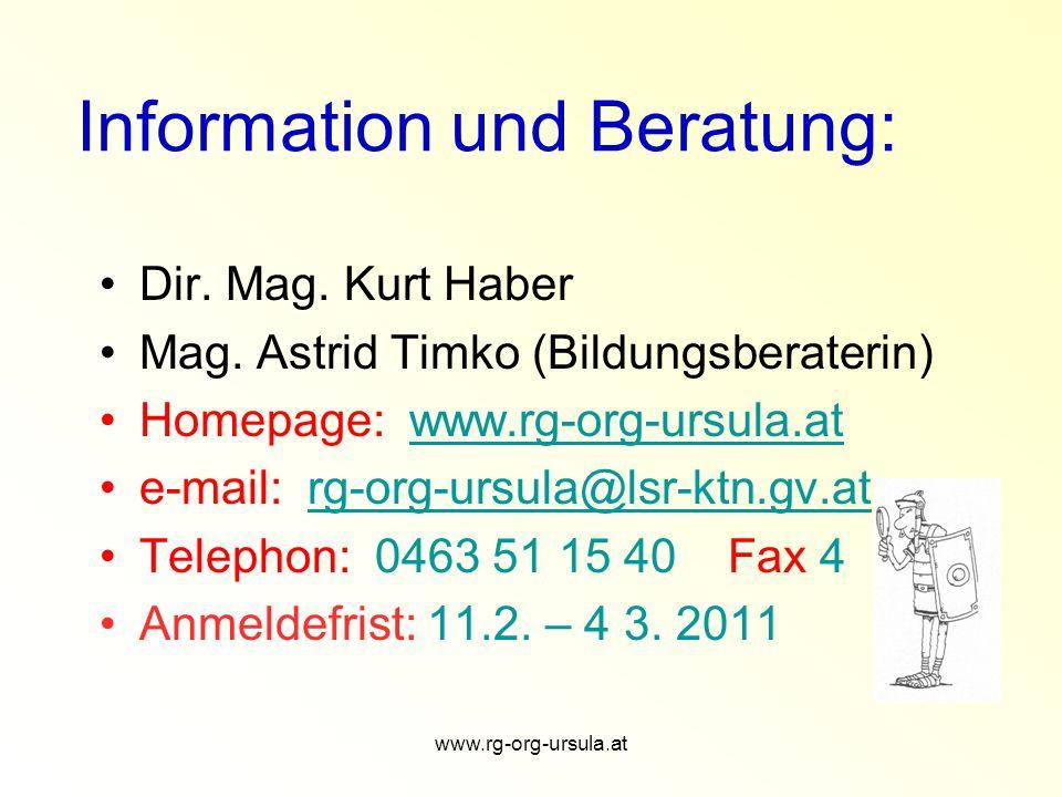 Information und Beratung: