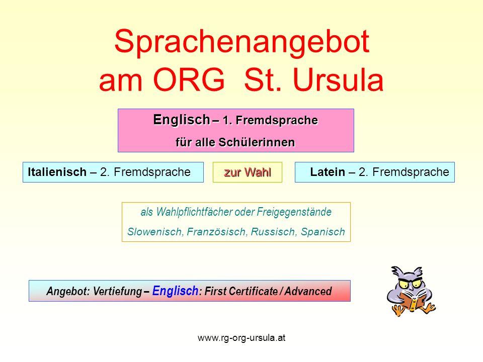 Sprachenangebot am ORG St. Ursula