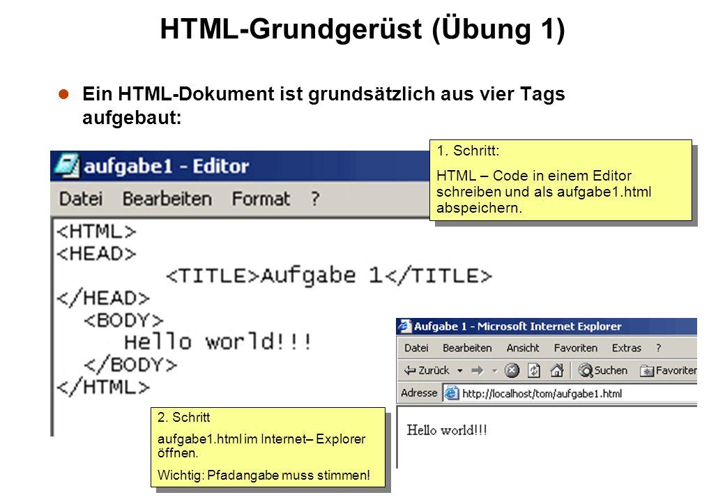 HTML-Grundgerüst (Übung 1)