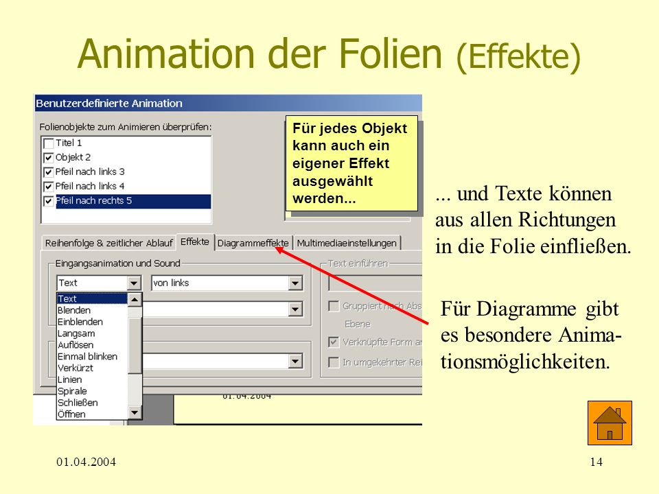 Animation der Folien (Effekte)