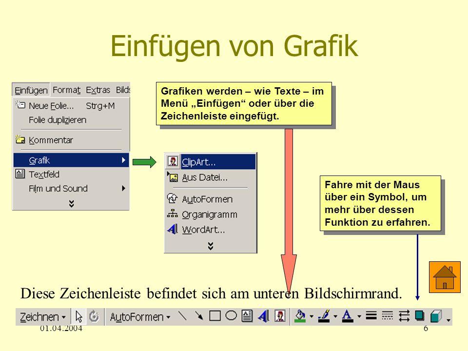 """Einfügen von Grafik Grafiken werden – wie Texte – im Menü """"Einfügen oder über die Zeichenleiste eingefügt."""