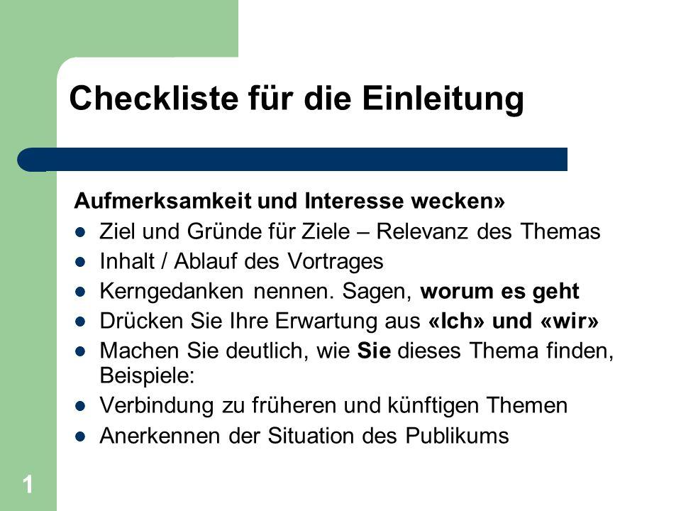 Checkliste für die Einleitung