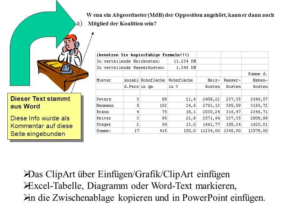 Das ClipArt über Einfügen/Grafik/ClipArt einfügen