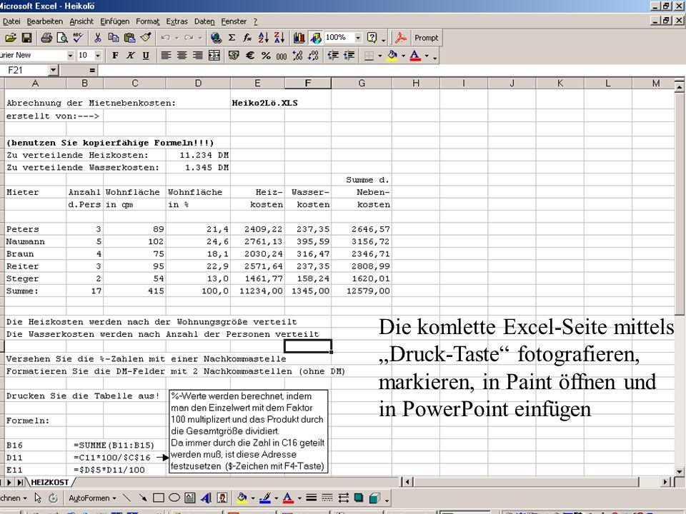 """Die komlette Excel-Seite mittels """"Druck-Taste fotografieren, markieren, in Paint öffnen und in PowerPoint einfügen"""