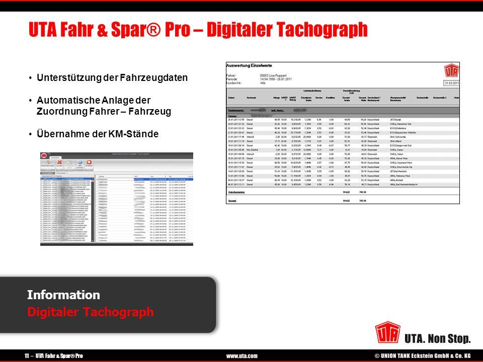 UTA Fahr & Spar® Pro – Digitaler Tachograph