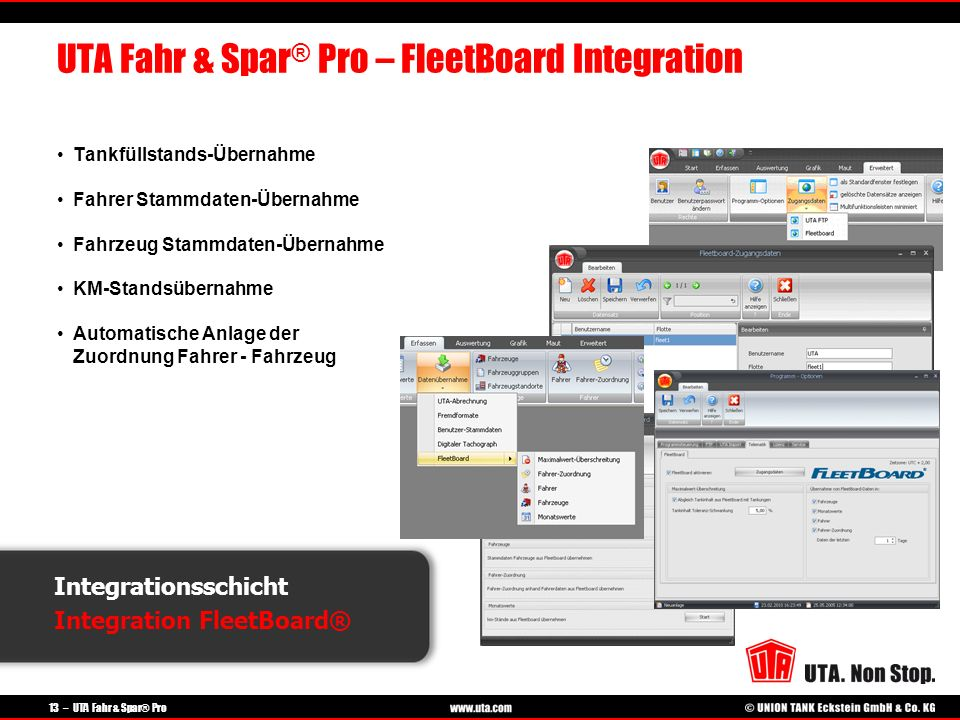 UTA Fahr & Spar® Pro – FleetBoard Integration
