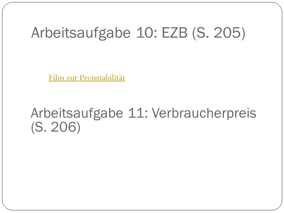 Arbeitsaufgabe 10: EZB (S. 205)