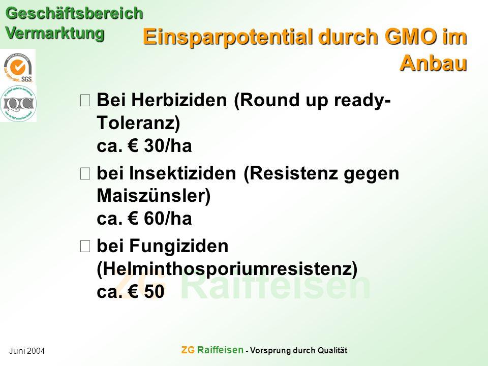 Einsparpotential durch GMO im Anbau
