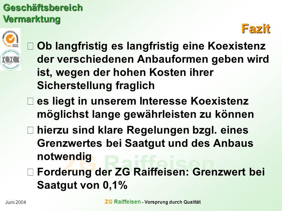 ZG Raiffeisen - Vorsprung durch Qualität