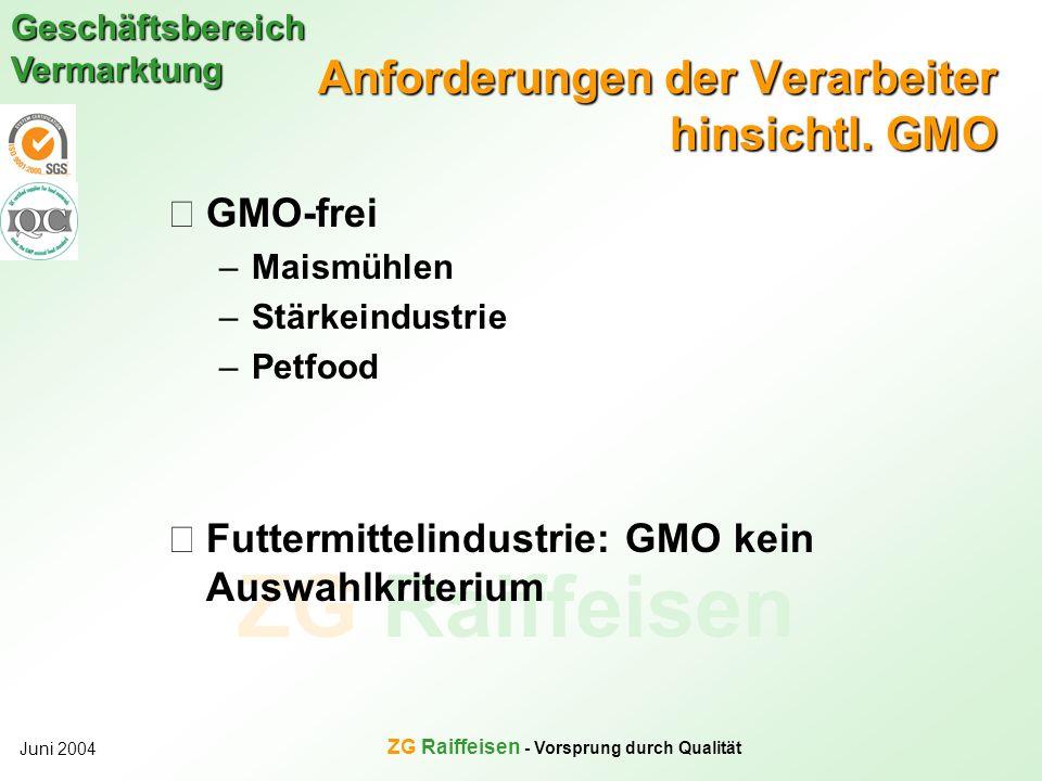 Anforderungen der Verarbeiter hinsichtl. GMO