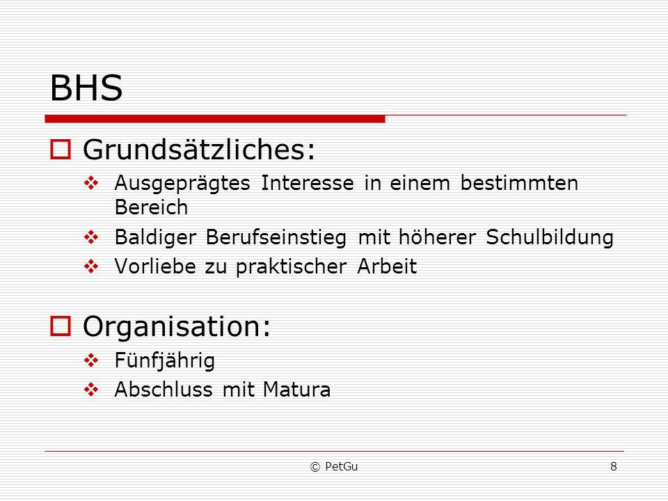 BHS Grundsätzliches: Organisation: