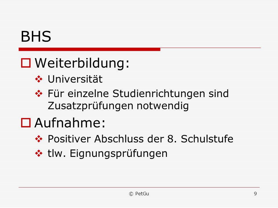 BHS Weiterbildung: Aufnahme: Universität