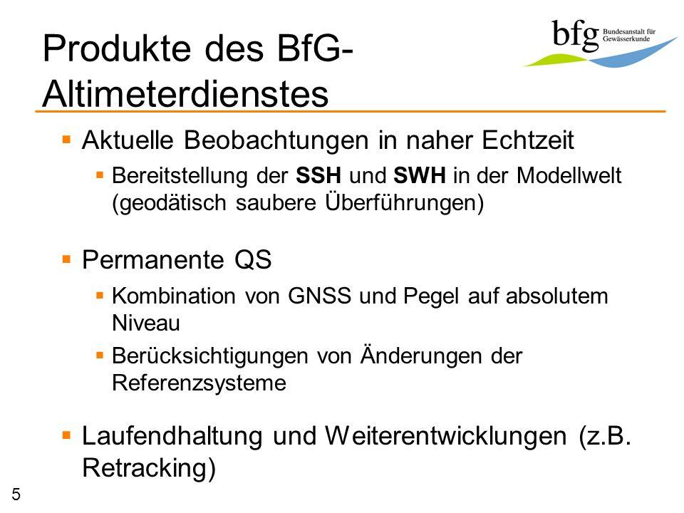 Produkte des BfG-Altimeterdienstes