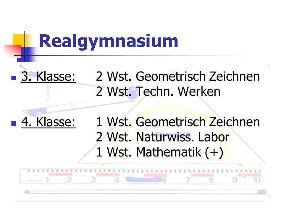 Realgymnasium 3. Klasse: 2 Wst. Geometrisch Zeichnen