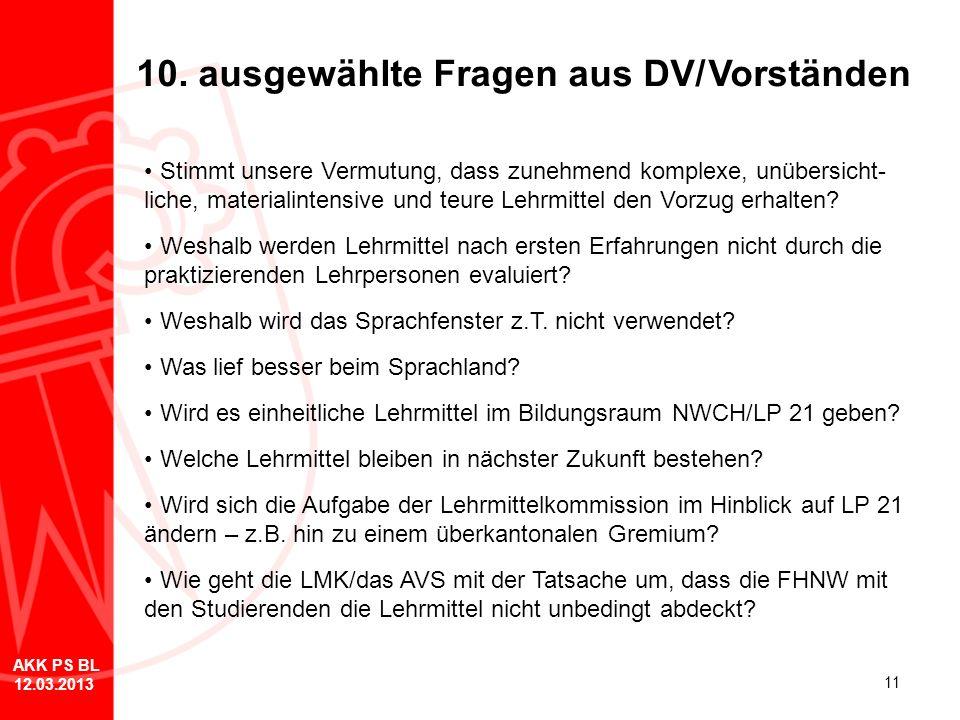 10. ausgewählte Fragen aus DV/ Vorständen