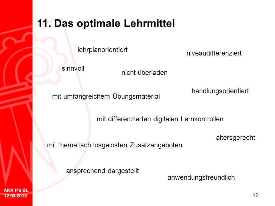 11. Das optimale Lehrmittel