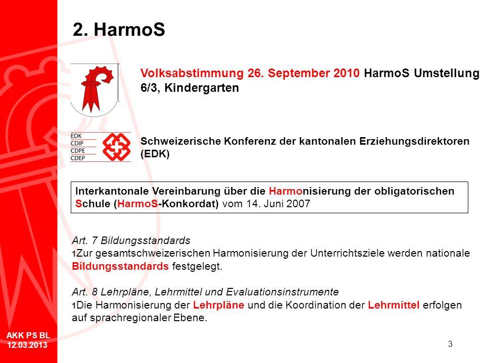 2. HarmoS Volksabstimmung 26. September 2010 HarmoS Umstellung 6/3, Kindergarten. Schweizerische Konferenz der kantonalen Erziehungsdirektoren (EDK)