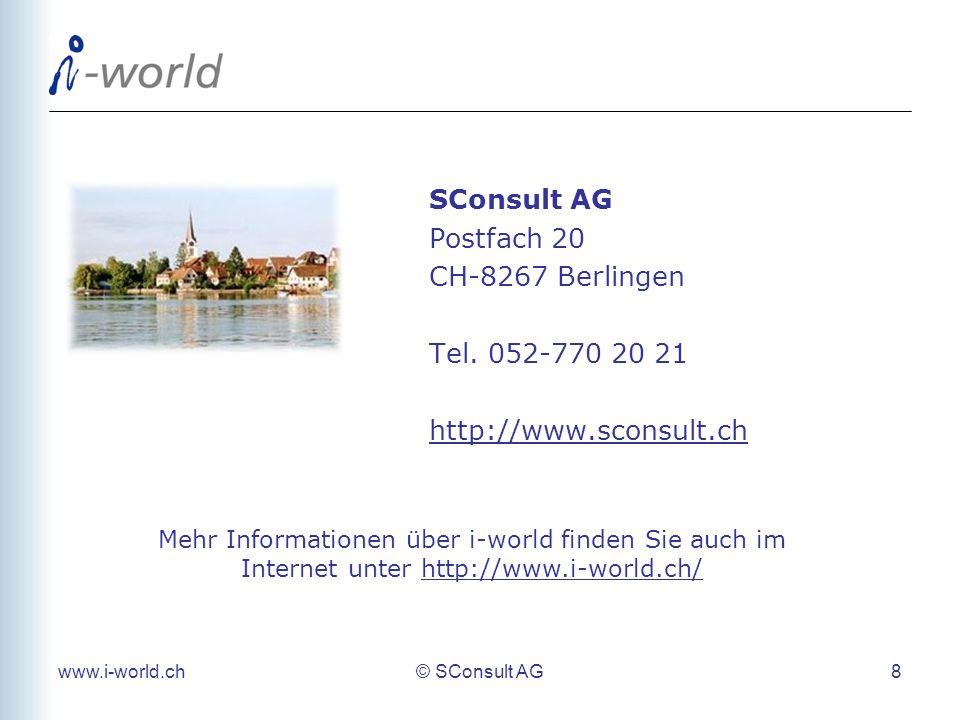 SConsult AG Postfach 20 CH-8267 Berlingen Tel. 052-770 20 21