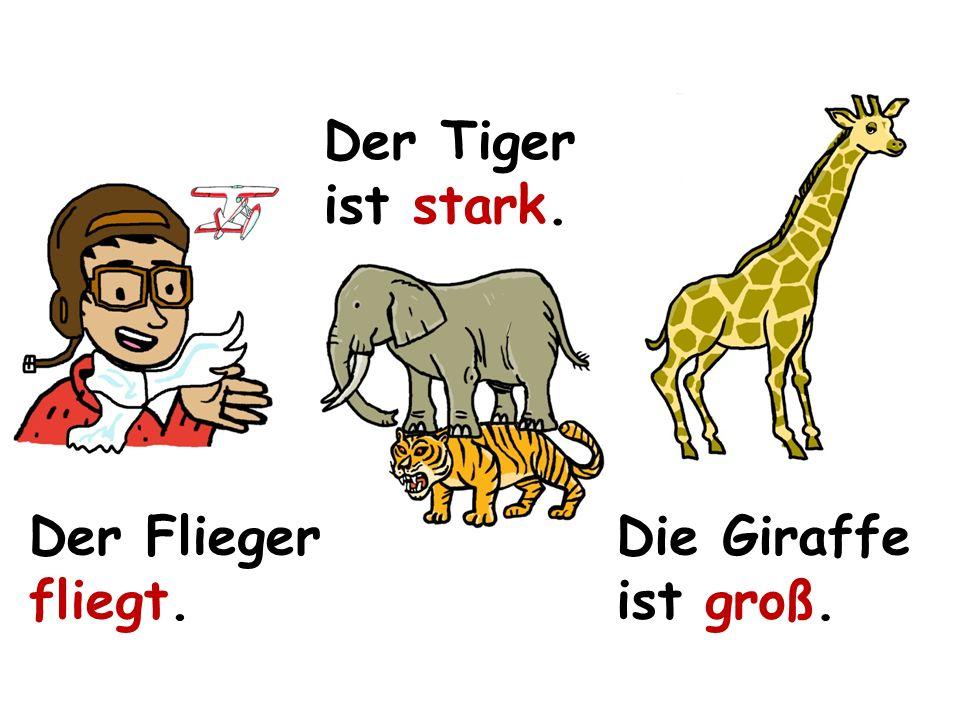 Der Tiger ist stark. Der Flieger fliegt. Die Giraffe ist groß.