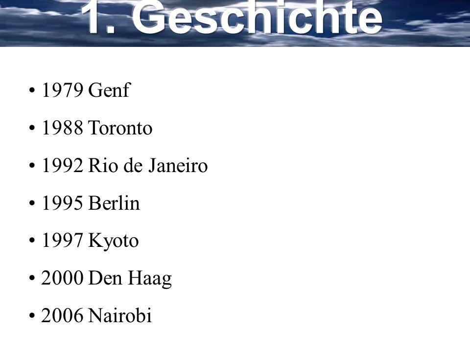 1. Geschichte 1979 Genf 1988 Toronto 1992 Rio de Janeiro 1995 Berlin