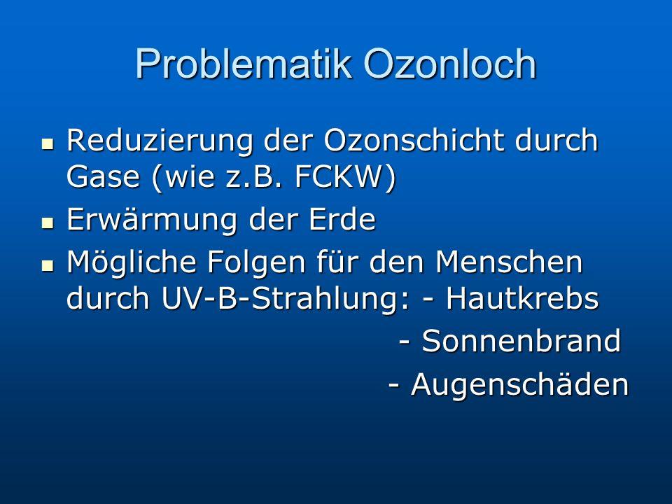 Problematik Ozonloch Reduzierung der Ozonschicht durch Gase (wie z.B. FCKW) Erwärmung der Erde.