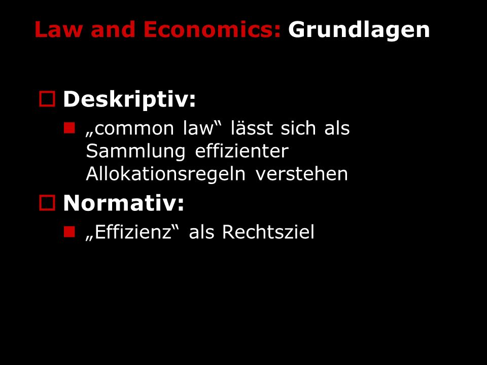 Law and Economics: Grundlagen