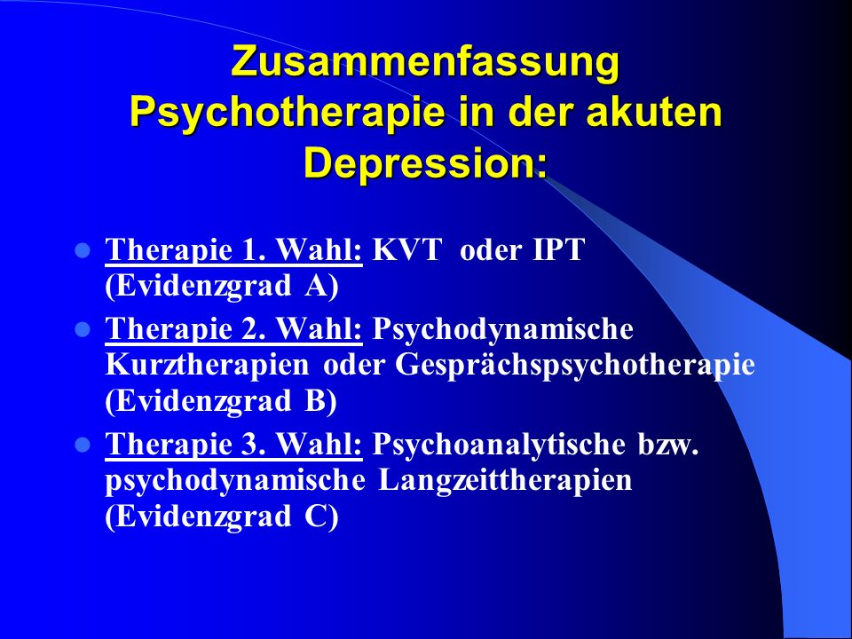 Zusammenfassung Psychotherapie in der akuten Depression:
