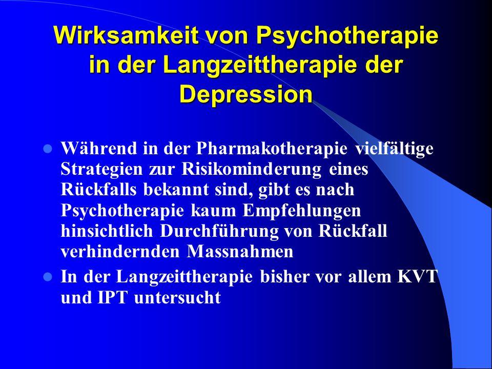 Wirksamkeit von Psychotherapie in der Langzeittherapie der Depression