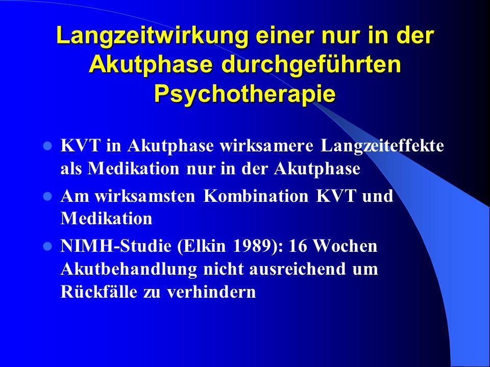 Langzeitwirkung einer nur in der Akutphase durchgeführten Psychotherapie