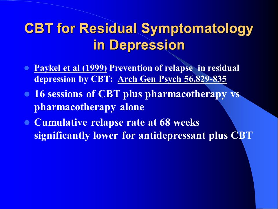 CBT for Residual Symptomatology in Depression