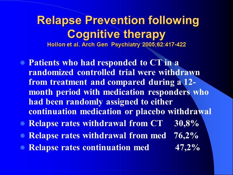 Relapse Prevention following Cognitive therapy Hollon et al