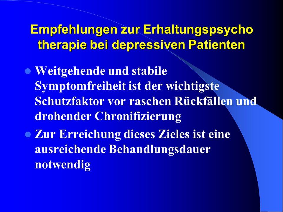 Empfehlungen zur Erhaltungspsycho therapie bei depressiven Patienten