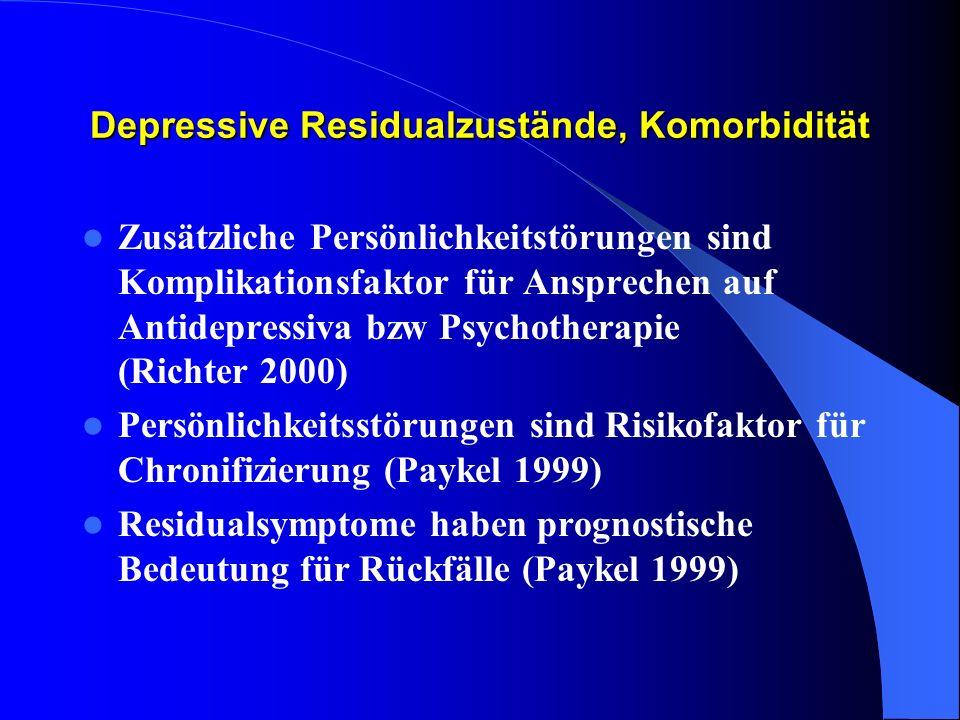 Depressive Residualzustände, Komorbidität