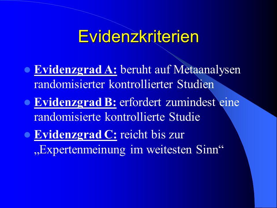 Evidenzkriterien Evidenzgrad A: beruht auf Metaanalysen randomisierter kontrollierter Studien.