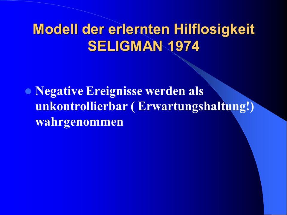 Modell der erlernten Hilflosigkeit SELIGMAN 1974
