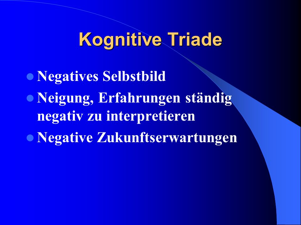 Kognitive Triade Negatives Selbstbild
