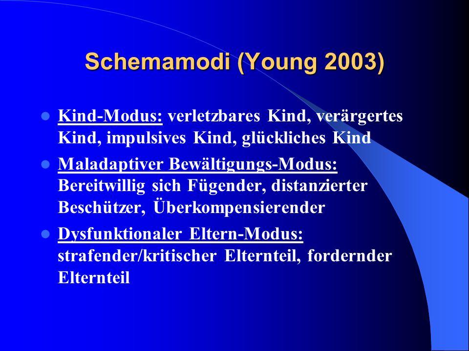 Schemamodi (Young 2003) Kind-Modus: verletzbares Kind, verärgertes Kind, impulsives Kind, glückliches Kind.