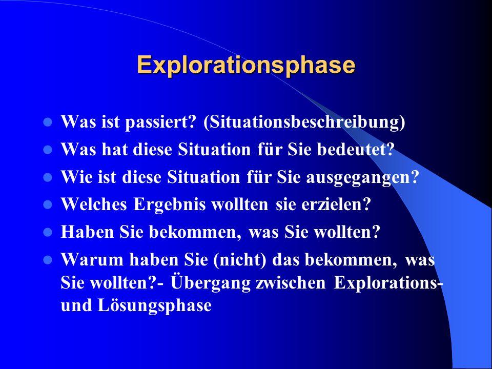 Explorationsphase Was ist passiert (Situationsbeschreibung)