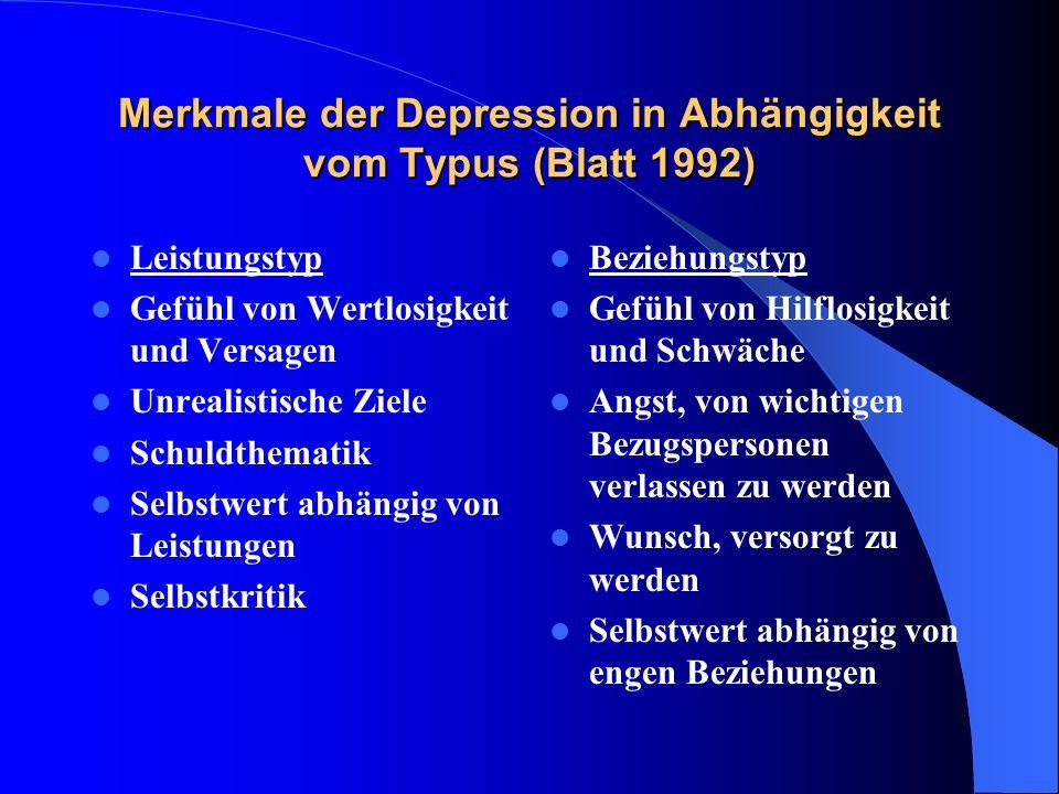 Merkmale der Depression in Abhängigkeit vom Typus (Blatt 1992)