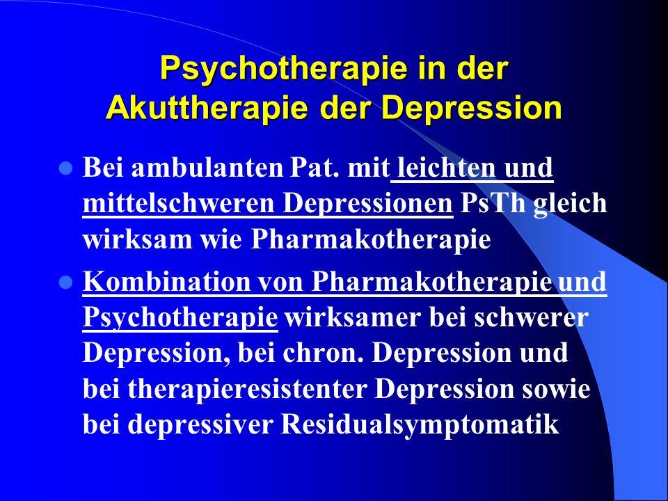 Psychotherapie in der Akuttherapie der Depression