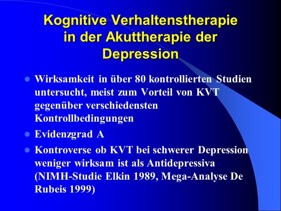 Kognitive Verhaltenstherapie in der Akuttherapie der Depression