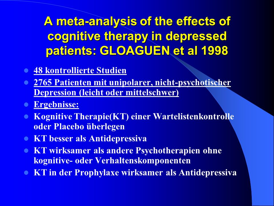 A meta-analysis of the effects of cognitive therapy in depressed patients: GLOAGUEN et al 1998