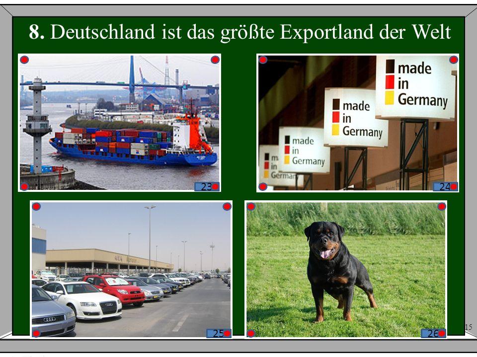 8. Deutschland ist das größte Exportland der Welt